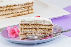 Slice of homemade cake made out of biscuits on a plate Royalty Free Stock Image