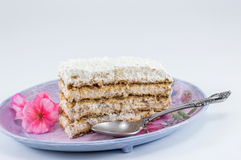 Slice of homemade cake made out of biscuits on a plate Stock Photography