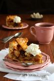 Slice of homemade dutch apple cake with whipped cream Royalty Free Stock Photos