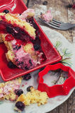 Slice of homemade fruit cake. With custard and fruit Royalty Free Stock Photos
