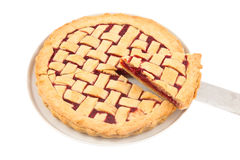 Slice of a homemade raspberry pie on a plate Stock Photo
