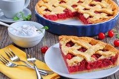 Slice of homemade sour cherry pie Stock Image