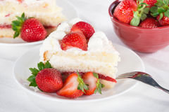 Slice of homemade strawberry cream cake Stock Image
