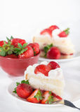 Slice of homemade strawberry cream cake Royalty Free Stock Images