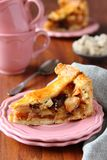 Slice of homemade  traditional dutch apple cake,  Royalty Free Stock Images