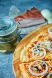 Slice of hot pizza large cheese lunch or dinner crust seafood meat topping sauce. with bell pepper vegetables delicious. Tasty fast food italian traditional on royalty free stock image