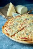 Slice of hot pizza large cheese lunch or dinner crust seafood meat topping sauce. with bell pepper vegetables delicious. Tasty fast food italian traditional on royalty free stock images