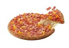 Slice of hot pizza large cheese lunch. Or dinner crust grilled ham and pineapple topping sauce. delicious tasty fast food italian traditional on isolated on Royalty Free Stock Photos