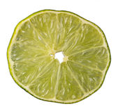 Slice of an isolated green lemon (lat. Citrus) Stock Images