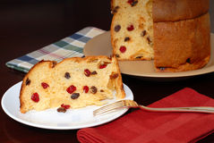 Slice of Italian Panettone Christmas bread Royalty Free Stock Image
