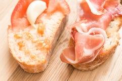 Slice of jamon snack on tapas Royalty Free Stock Image