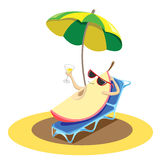 A slice of a juicy apple in black glasses rests under a umbrella. A slice of a juicy apple in black glasses rests under a green umbrella on the beach on a sunbed Royalty Free Stock Photography