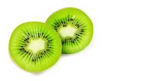 Slice of juicy delicious and healthy ripe kiwi, isolated on white background, copy space, template.  stock photos