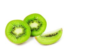 Slice of juicy delicious and healthy ripe kiwi, isolated on white background, copy space, template.  royalty free stock photography