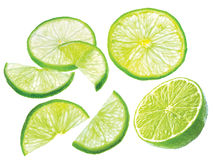 Slice juicy green lime isolated on white background Royalty Free Stock Photo
