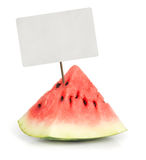 Slice of juicy red watermelon with price tag Stock Image