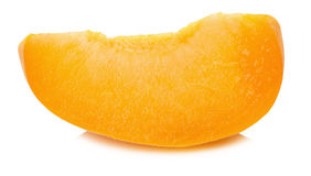 Slice of juicy ripe apricot on the white background Stock Photography