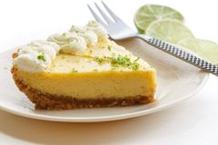 Slice of a key lime pie. On white plate Stock Photos