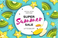 Slice of kiwi and carambola. Banana Super Summer Sale Banner in paper cut style. Origami juicy ripe green yellow slices. Healthy food on blue. Circle frame for Stock Image