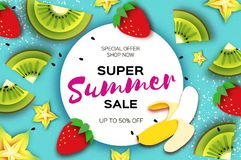 Slice of kiwi and carambola. Strawberry and Banana. Super Summer Sale Banner in paper cut style. Origami juicy ripe. Green yellow slices. Healthy food on blue Royalty Free Stock Image