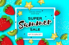 Slice of kiwi and carambola. Strawberry and Banana. Super Summer Sale Banner in paper cut style. Origami juicy ripe. Green yellow slices. Healthy food on blue Royalty Free Stock Photos