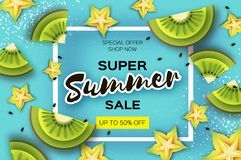 Slice of kiwi and carambola. Top view. Kiwi and Starfruit Super Summer Sale Banner in paper cut style. Origami juicy. Ripe green yellow slices. Healthy food on Royalty Free Stock Images