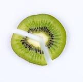 Slice of kiwi. fruit pie chart. Slice of kiwi on white background. fruit pie chart stock image