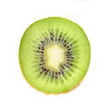 Slice of kiwi fruit on white background. Stock Photo