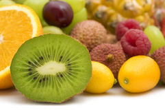 Slice kiwi and fruits Royalty Free Stock Photos