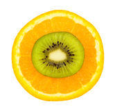 Slice kiwi on orange Royalty Free Stock Image