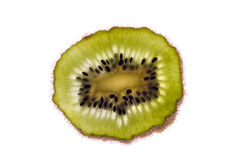 Slice of kiwi with seeds Royalty Free Stock Images