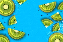 Slice of kiwi.Top view. Kiwi Super Summer in paper cut style. Origami juicy ripe green slices. Healthy food on blue. Summertime. Vector Royalty Free Stock Photography
