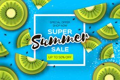 Slice of kiwi. Top view. Kiwi Super Summer Sale Banner in paper cut style. Origami juicy ripe green slices. Healthy food Stock Image