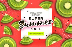 Slice of kiwi. Top view. Kiwi Super Summer Sale Banner in paper cut style. Origami juicy ripe green slices. Healthy food. On red. Square frame for text Stock Images