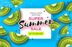 Slice of kiwi. Top view. Kiwi Super Summer Sale Banner in paper cut style. Origami juicy ripe green slices. Healthy food. On blue. Square frame for text Stock Image