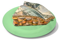 Slice Of Kronor Money Pie Royalty Free Stock Photography