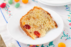 A Slice of Kulitch (Kulich), Russian Easter Sweet Bread Stock Photo
