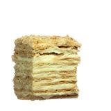 Slice of layer cake with custard Royalty Free Stock Photos