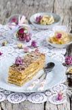 Slice of layered honey cake Royalty Free Stock Image