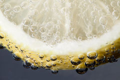 Slice of Lemon. In drink with bubbles Royalty Free Stock Photo