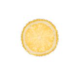 Slice of lemon in bubbles isolated on white Royalty Free Stock Photo