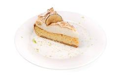 Slice of lemon cake isolated in white Royalty Free Stock Photo