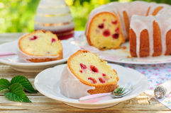 A Slice of Lemon and Caraway Seed Bundt Cake with Raspberries Stock Image
