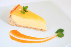 Slice of lemon cheese cake Royalty Free Stock Images