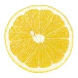 Slice of lemon citrus fruit isolated on white. Top view of textured ripe slice of lemon citrus fruit isolated on white background with clipping path Royalty Free Stock Photos