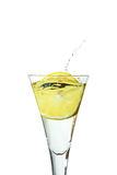 Slice of lemon drops in a glass Stock Photos