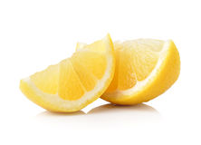 Slice of lemon fruit isolated on white background Stock Photography