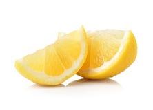 Slice of lemon fruit isolated on white background Stock Photography