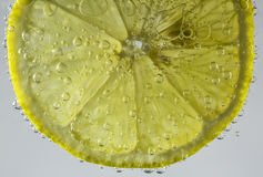 Slice of Lemon. Macro of a slice of lemon in tonic water with bubbles and light shining through Stock Image