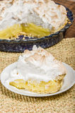 Slice of lemon meringue pie Stock Photos